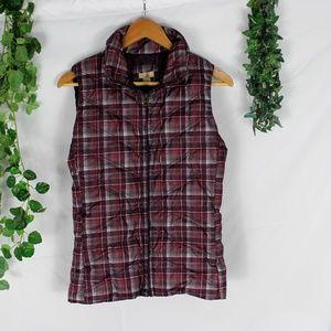 4/$25 Ascend Plaid Down Zip Up Puffer Vest Purple
